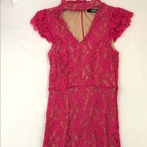 XOXO Juniors Vneck Long Pink Dress Size-small